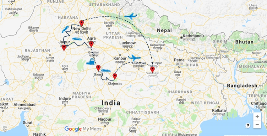 Clic India,Jhanshi, Khajurao, Varanashi, Ratasthan, Delhi ... on agra new delhi india map, taj mahal india location on map, madrid tourist map, agra uttar pradesh india map,
