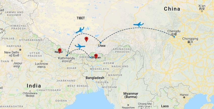 Tibet Nepal Bhutan Trip Map